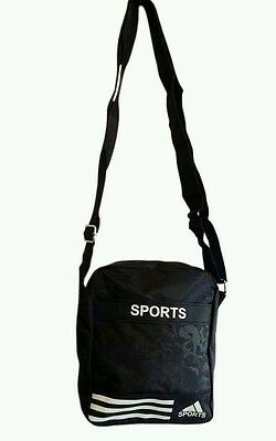 Mens Bag Unisex Cross Body Over Shoulder Small Travel Side Bag Black and White..