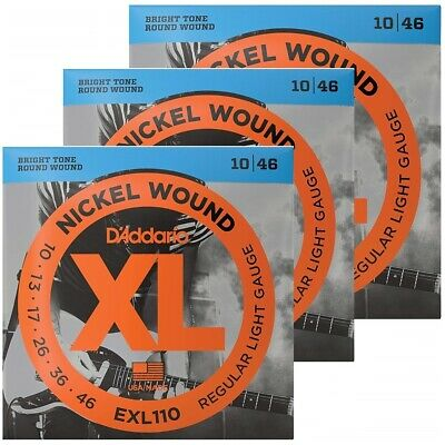 D'Addario EXL110 Electric Guitar Strings Regular Light Gauge 10 - 46  3 Packs