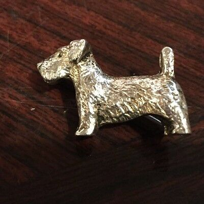 Quality Solid Silver Scottie Dog Brooch