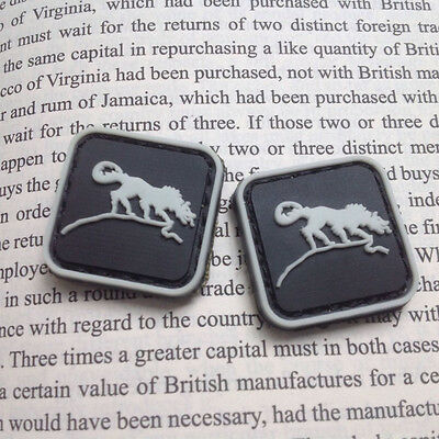 2 Pcs Mini Solid Wolf Badge Tactical Army Morale 3D Pvc Rubber Patch Hook
