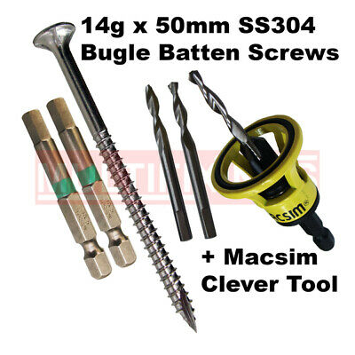 1000pcs - 14g x 50mm Stainless 304 Bugle Head Screws + Macsim Clever Tool