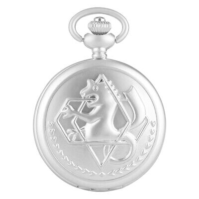 Vintage Fullmetal Alchemist Edward Elric Matte Quartz Pocket Watch Chain Xmas HO