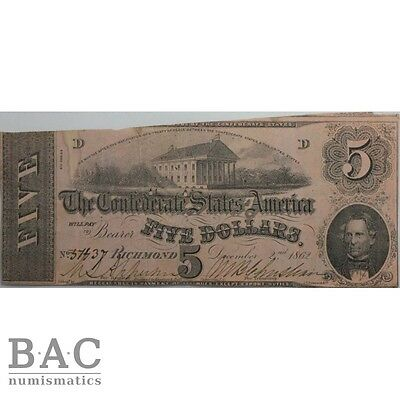 Confederate States of America 5 Dollars 1862  T53 Very fine 3011158