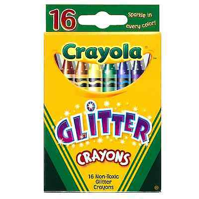 Crayola 16 Glitter Wax Crayons Non Toxic Colours Sticks Washable Sparkly Art Fun