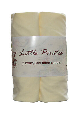 2 x Baby Pram/Crib/ Moses Basket Jersey Fitted Sheet 100% Cotton Cream 40x90cm