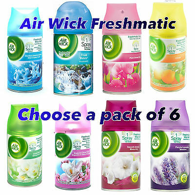 6 x GENUINE AIR WICK FRESHMATIC MAX ULTRA REFILLS 250ml -choose fragrance!