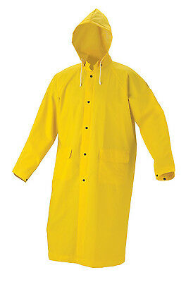 Yellow Heavy Duty Long RAINCOAT Jacket w/ Hood PVC All Sizes M L XL 2XL 3XL 4XL