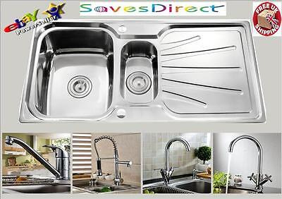 New 1.5 Bowl Stainless Steel Kitchen Sink,Drainer & Waste+Selection of HugeTaps