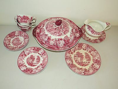 Antique 15 Pc Serving Set Enoch Wood's * English Scenery * Floral & Farm England