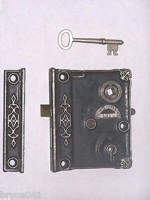 Antique Fancy Ornate Rim Lock Dated 1863 With Key And Strike
