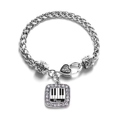 Inspired Silver Piano Lovers Classic Braided Charm Bracelet