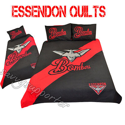 Essendon Bombers AFL Quilt Cover Set Single Double Queen Avail Doona Duvet BNIP6