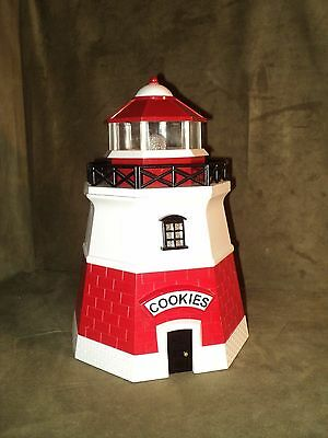 "Lighthouse Cookie Jar - Light & Sound when Opened - Red & White 11.5"" Lighthouse"