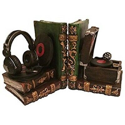 Decorative Resin Headphone & Gramophone Bookend Great Gift For Dad & Music Lover
