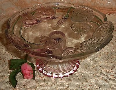 Vintage Glass Embossed Green Leaves & Pink Tones Flowers and Comport