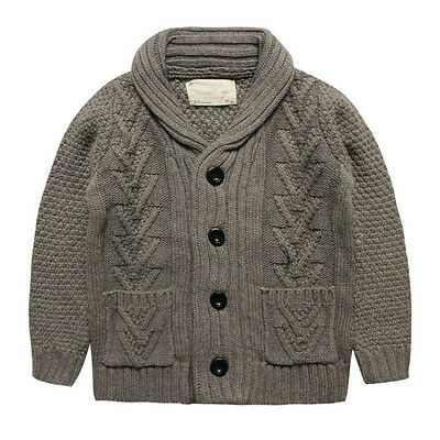 New Kids Boys 100% Cotton Twisted Cardigan Vintage Lapel Knitted Sweater S1283