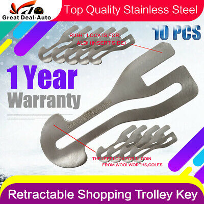 10 x Removable Shopping Trolley Key $1 COIN SLOT ALDI COLES WOOLWORTHS STAINLESS
