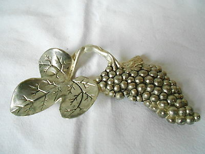 Vintage French silver color metal HANDLE / PLAQUE/ MOUNT  : GRAPES Shape