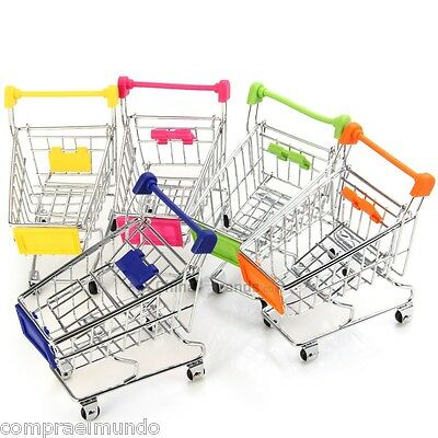 Mini Supermarket Handcart Shopping Cart Trolleys Phone Holder Gift Storage Toy