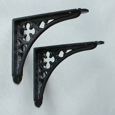 "Pair of BLACK 5x4"" SMALL ANTIQUE VINTAGE GOTHIC CAST IRON SHELF BRACKETS BR03bx2"