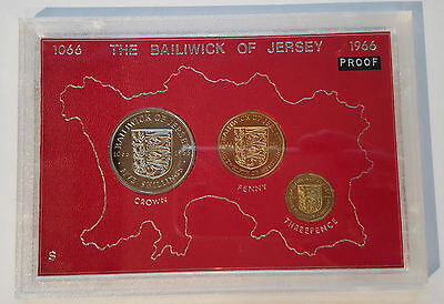 1966 Jersey Proof Coin Set, 5 Shilling, threepence & Penny (CW2)