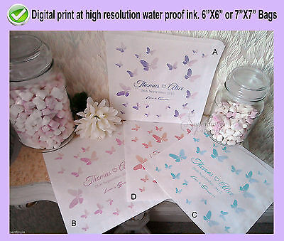 Personalised Butterfly Paper white bag love Sweet Sweetie Candy Cart Wedding New