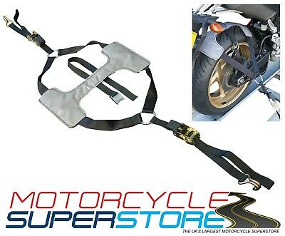 Motorcycle Trackday Tyre Fix Tie Down Trailer Ratchet Single Strap System