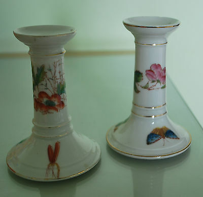 Vintage Pair of Pottery Candlesticks - with Floral and butterfly Detail    # 743