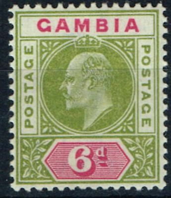 Gambia 1902 6d Pale Sage Green & Carmine SG51 V.F Very Lightly Mtd Mint