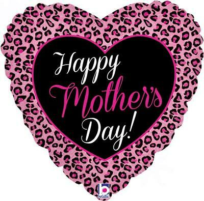 """Happy Mothers Day Diva Pink Leopard Print 18"""" Holographic Foil Balloon"""