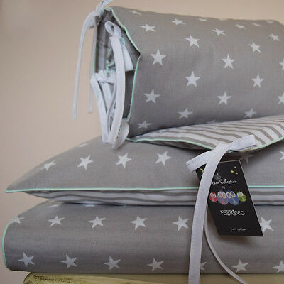 100% COTTON Cot Bed Duvet Cover , bumper Grey Stripes Stars Mint piping bedding