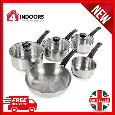 Morphy Richards 970002 Equip 5 Piece Pan Set Stainless Steel with Glass Lids NEW