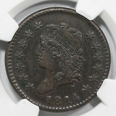 1814 S-294 NGC XF 40 Crosslet 4 Classic Head Large Cent Coin 1c
