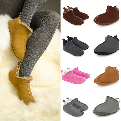 Luxury Women's Handmade 100% Genuine Soft Sole Sheepskin Suede/Fur Slipper Boots