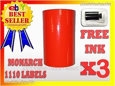 3 Sleeves Fluorescent Red Label For Monarch 1110 Pricing Gun 3 Sleeves=48Rolls