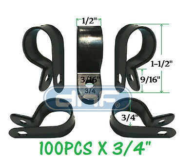 "100 Pack 3/4"" Black Nylon Cable Clamp Uv Weather Resistant - Ships Free Today!"