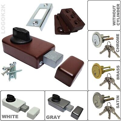 Front Door Lock Deadbolt Nightlatch  Dead Bolt Night Latch 3 Keys Rim Cylinder