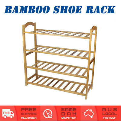 4 Tier Bamboo Shoe Rack Storage Organiser Shoes Shelf Stackable Wooden Stand