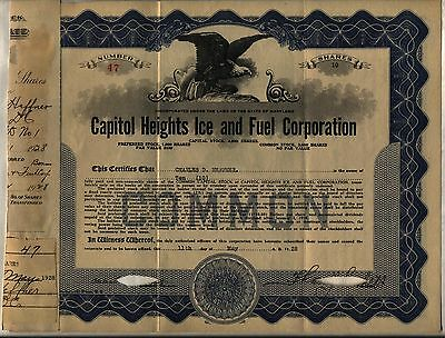 Capitol Heights Ice & Fuel Corporation Stock Certificate Maryland
