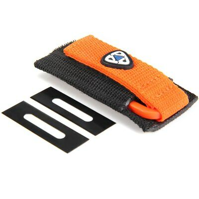 Orange Scuba Diving Knife Two Sides Line Cutter with 2Pcs Replacement Blades