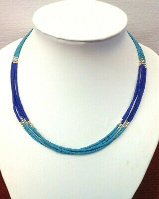 Afghan Natural Turquoise, Lapis Lazuli Tiny Seed Beads Necklace Handmade Vintage