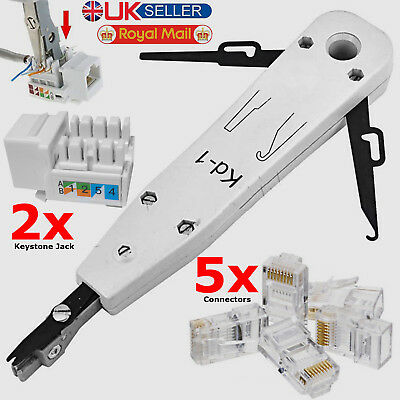 Ethernet Network LAN RJ45 Punching Punch Tool Cable Connectors Keystone Jack Kit
