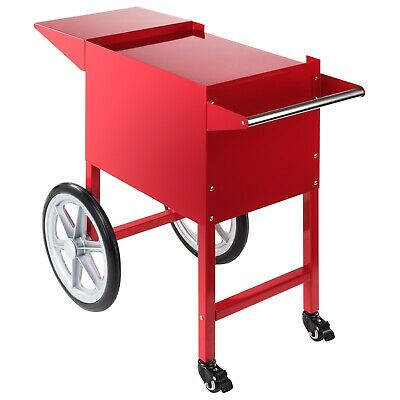 Popcorn Maker Cart Movie Nostalgia Retro Red Steel 2 Wheels W/ Brakes For Popper