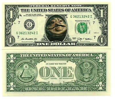 JABBA LE HUTT - STAR WARS VRAI BILLET DOLLAR US! Collection Cantina Tatooine the