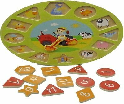 Wooden Teach Time Clock Childrens Counting Number Puzzle Kids Teaching Wood Toy