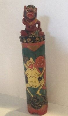 Vintage Indonesian Balinese Carved Wood & Painted Seed Incense Holder Container