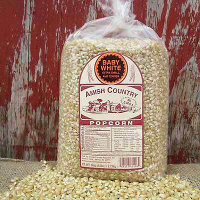 6 lb Bag BABY WHITE GOURMET Amish Country Popcorn Pop Corn Non-GMO