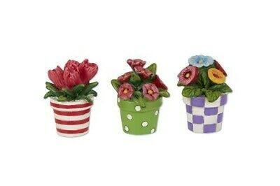 Mary Engelbreit Fairy Gardens Mini - Patterned Potted Flowers - Set of 3