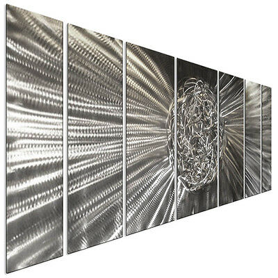Contemporary Metal Wall Art Knot Silver 3D Wall Decor by Ash Carl 7 Piece Set