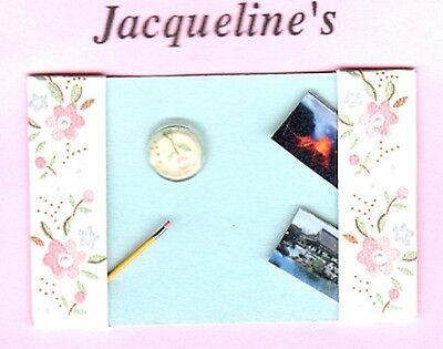Dollhouse Mini Ladies Pink Flower Desk Blotter Paperweight Pencil Jacquelines